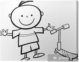 Canvas Jongen Met Scooter Cartoon Kleurplaat Pixers We Leven Om