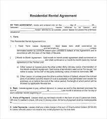 Month To Month Rental Agreement Template Sample Month To Month Rental Agreement Form 11 Free