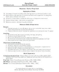 Chef Resume Objective From Sample Cook Resume Line Cook Cover Letter