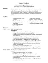 waitress sample resume waitress cv template cv samples examples