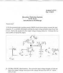 for the grounded gate p pullup pseudo nmos circuit shown below assume the load capacitor cl