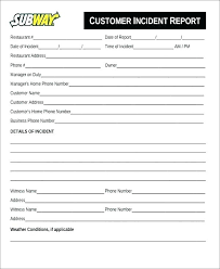 Customer Incident Report Form Template Accident Nz 2 Excel Sch