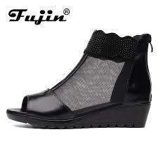 <b>Fujin Brand</b> Genuine Leather Sandals Wedge <b>2019 Summer</b> Shoes ...