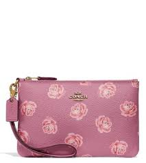 Coach Rose Print Coated Canvas Wristlet ...