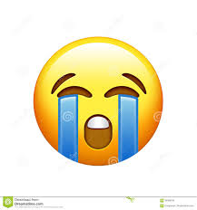 Emoji Yellow Sad Face With Crying Tear Icon Stock