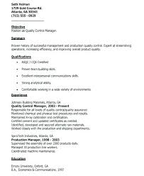 Quality Assurance Manager Resume Sample Control Inspector Examples