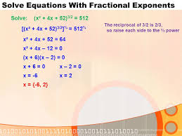 5 solve equations with fractional exponents