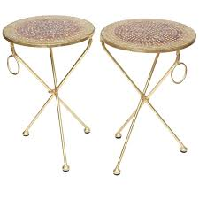Pair of Italian Vintage Gold Leaf and Mosaic Glass Tripod Side ...