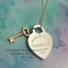 authentic tiffany co return to tiffany silver heart rubedo key necklace