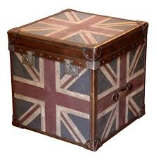 Union Jack Modern Industrial Leather Trunk Side End Table | Kathy Kuo Home
