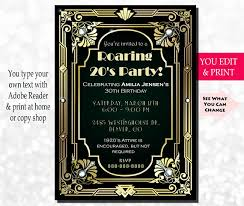 Great Gatsby Invitation Template Great Gatsby Party Invitation Template Museo Template