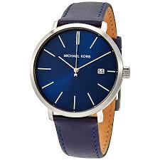 michael kors blake blue dial men s leather watch mk8675 0