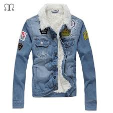 denim jacket men winter casual warm fur lined jean coat male slim fit vintage motorcyle jackets men printed streetwear outwear uk 2019 from tielian