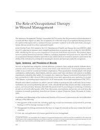 the role of occupational therapy in wound management american  first page pdf preview