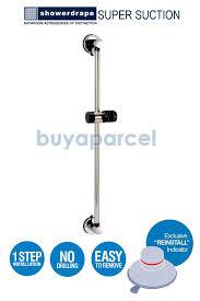 showerd axis chrome shower head holder riser rail with super suction bracket