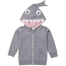 Shark Tooth Size Chart Amazon Com Unisex Baby Autumn Winter Shark Tooth Hooded