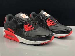 mens womens nike air max 90 leather black university red running shoes