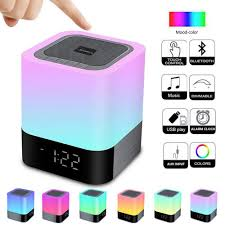 Alarm Clock Bluetooth Speaker Night Light Bluetooth Speakertouch Sensor Bedside Lampdimmable Warm Light Color Changing Rgb Led Table Lamp Mp3