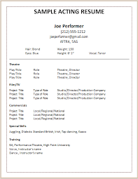 Actors Resume Template 14 Acting Download By Joe Performer