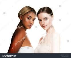 Light Skin Models Two Wemen Dark Light Skin Tone Stock Photo Edit Now 1132002965