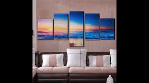 Modern Living Room Paintings 5 Panels Modern Abstract Sunset Painting Canvas Beach Wall Art