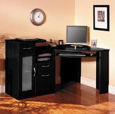Small Filling Cabinet Furniture Wooden Black Corner Desk And Armless Chair Set Black
