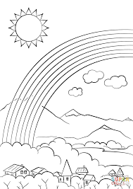 Small Picture Rainbow over the City coloring page Free Printable Coloring Pages