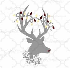 Reindeer Silhouette Lights Christmas Reindeer Svg Antlers Lights Snowflake Holidays