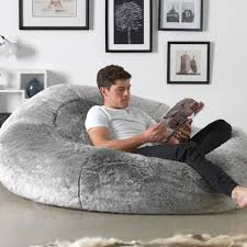 extra large faux fur bean bag in silver