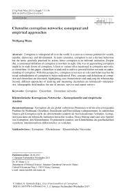 Klientelistische Korruptions Netzwerke Konzeptionelle Und