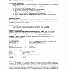 Fresh Qtp Sample Resume For Software Testers Inspirational Software