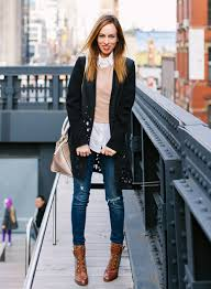 sydne style fall winter outfit ideas on down shirt sweater ripped jeans new york city highline