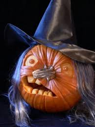 Scary Witch Carved Pumpkin