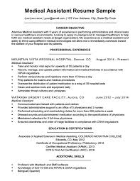 Resume And Cover Letter Resume Examples For Medical Assistant