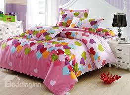adorable heart shape pattern 4 piece cotton kids duvet cover sets