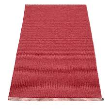 pappelina mono blush dark red runner rug
