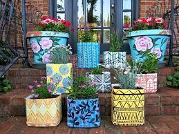 flower pot paint diy ideas diy garden design balcony with children fashion colors in scene