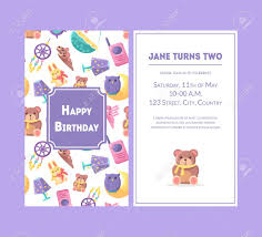 Happy Birthday Greeting Card Violet Party Invitation Template