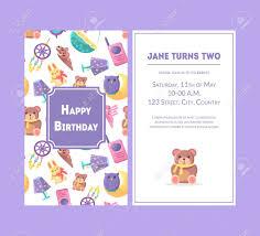 Girl Birthday Invitation Template Happy Birthday Greeting Card Violet Party Invitation Template
