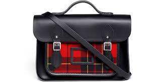 cambridge satchel company 13 tartan detachable strap leather satchel in black lyst