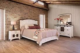 Amazon.com: 5 Piece Anton Distressed White Sliding Barn Door Queen ...