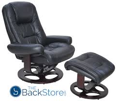 barcalounger jacque ii genuine black leather recliner chair and ottoman