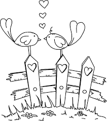Small Picture Love Birds Standing at Fence of Love Coloring Pages Batch Coloring