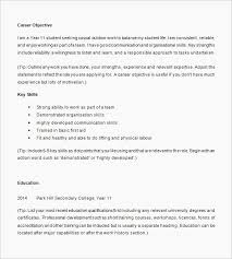 Sample Resume Objective High School Student Nice Resume Template For