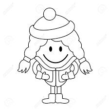冬の服でかわいい女の子単純な線の描画
