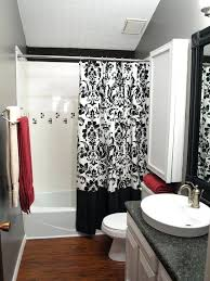 black and white shower the intricate pattern gives a great contrast to the solid black border