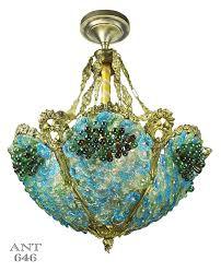 vintage hardware lighting antique bohemian bowl chandelier blue green glass bead light ant 646
