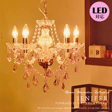 chandelier pink antique style 5 light led bulb for glass lighting living room dining bedroom lighting door dimming for pink pink crystal princess series