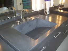 concrete countertop with an integrated ramp sink