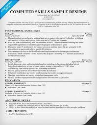 List Computer Skills Resume Volumetrics Co Resume Sample Basic Resume  Genius Latest Bank Resume In India